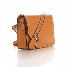 Кожаный клатч Genuine Leather 1729 рыжего цвета с декоративной пряжкой на клапане