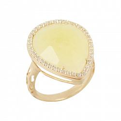 Золотое кольцо с кальцитом и цирконием Эшли 000016910