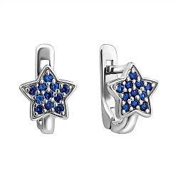 Детские серебряные серьги с чернением и синей синтезированной шпинелью 000044634