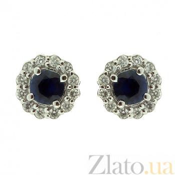 Золотые серьги-пуссеты с бриллиантами и сапфирами Лиора ZMX--ES-6539w_K