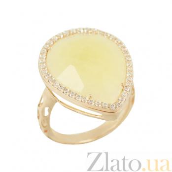 Золотое кольцо с кальцитом и цирконием Эшли 2К138-0103