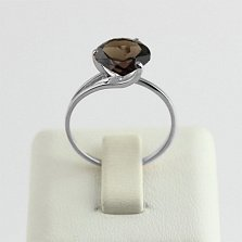 Кольцо из белого золота с раухтопазом Селесте