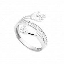 Кольцо из белого золота Мамина радость с фианитами