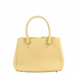 Кожаная деловая сумка Genuine Leather 8643 желтого цвета с двумя отделениями