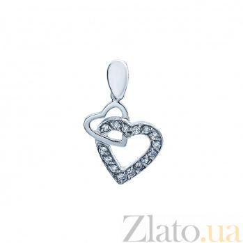 Серебряная подвеска с фианитами Два сердца AQA--Тп-150048