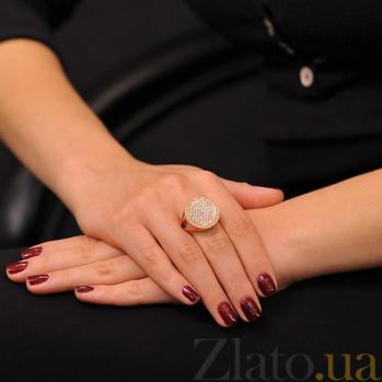 Золотое кольцо с цирконием и орнаментом Беатрис EDM--КД0405