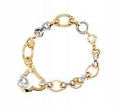 Золотой браслет в комбинированном цвете с фианитами Нормандия