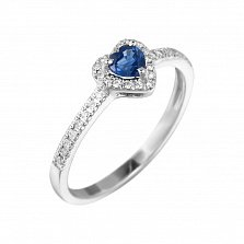 Кольцо из белого золота Весенняя любовь с сапфиром и бриллиантами