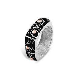 Серебряное кольцо Агнесса с золотыми накладками, черной эмалью и родием