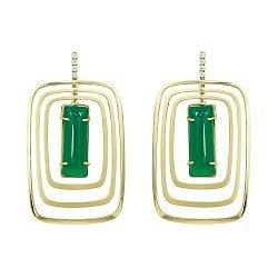 Серьги-подвески из желтого золота с зеленым агатом и фианитами 000081439