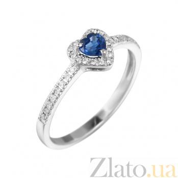 Кольцо из белого золота Весенняя любовь с сапфиром и бриллиантами 000080944