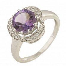 Серебряное кольцо Фиалка с аметистом и фианитами