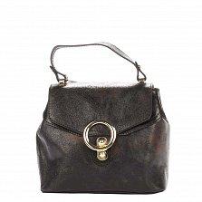 Кожаный рюкзак Genuine Leather 8708 черного цвета со съемными ремянми и механическим замком