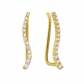 Золотыесерьги-каффыВолнавжелтомцветесфианитами 000123706