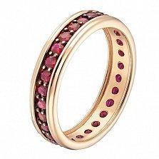 Кольцо в красном золоте Праздник с рубинами