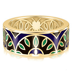 Мужское обручальное кольцо из желтого золота с эмалью Талисман: Мира 000009964