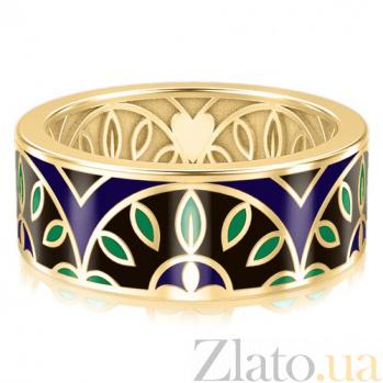 Мужское обручальное кольцо из желтого золота с эмалью Талисман: Мира 3134