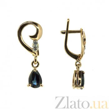 Золотые серьги с бриллиантами и сапфирами Сильва ZMX--EDS-5548_K