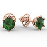 Золотые серьги с зеленым кварцем Лоретт