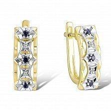 Золотые серьги Калантия с бриллиантами и сапфирами