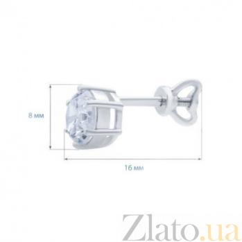 Серебряные пуссеты Лиолина с белым цирконием AQA--72300б