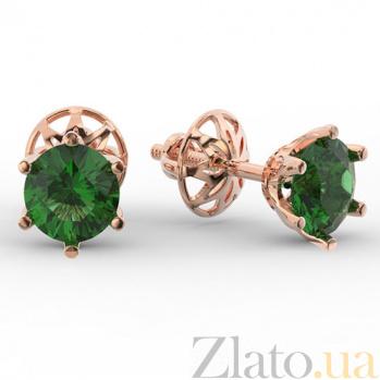 Золотые серьги с зеленым кварцем Лоретт SUF--110341Пз