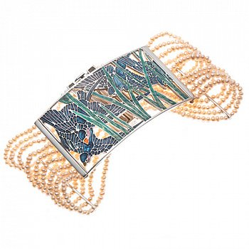Серебряный браслет с розовым жемчугом и эмалью 000052124