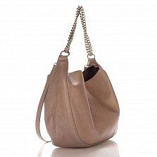 Кожаная сумка на каждый день Genuine Leather 8972 серого цвета с ручкой-цепочкой и косметичкой