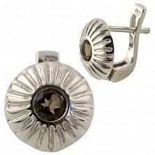 Серебряные серьги Юлиана с раухтопазом