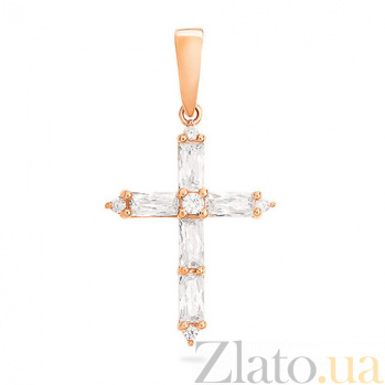 Золотой крестик с фианитами Хрустальное утро SUF--440421