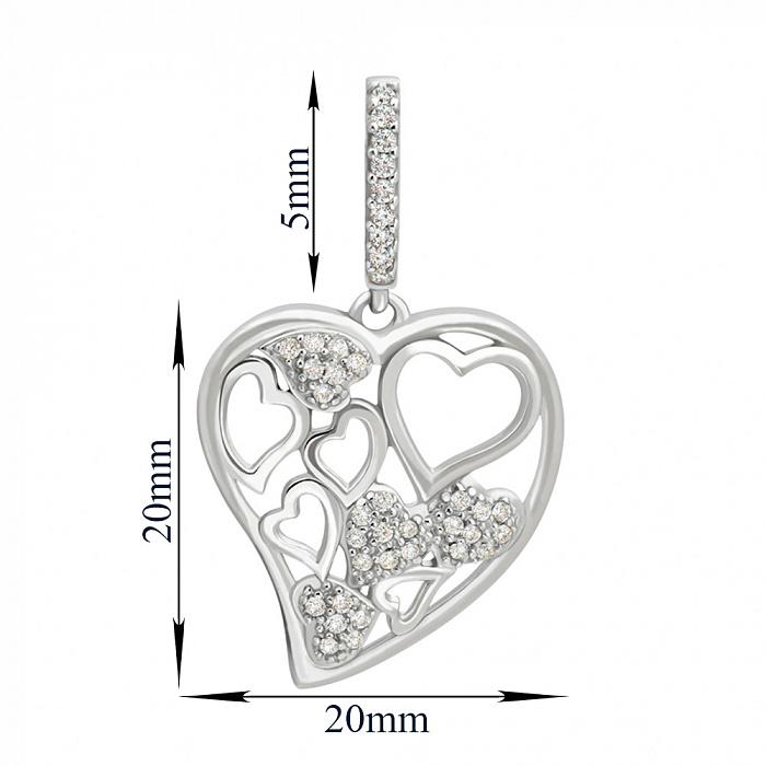 Серебряный кулон Сияющие сердца с фианитами 000062873