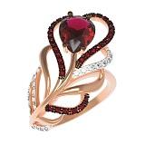 Золотое кольцо Перо в драгоценном сиянии с нанорубином и фианитами