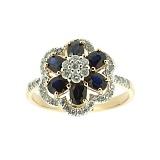 Золотое кольцо Кларетта в белом цвете с сапфирами и бриллиантами