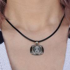 Серебряная черненая ладанка Николай Чудотворец с ониксом и позолотой