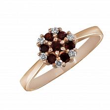 Кольцо из красного золота Сильвия с гранатами и бриллиантами