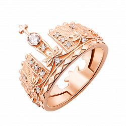 Кольцо-корона из красного золота с фианитами 000126619