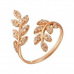 Разомкнутое кольцо из красного золота с фианитами 000129710