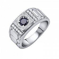 Серебряный перстень-печатка Ролекс с узорной шинкой, черным и белыми фианитами