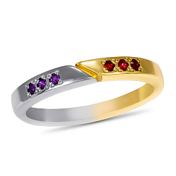 Кольцо Двойная удача в белом и красном золоте с синтезированными аметистами и рубинами