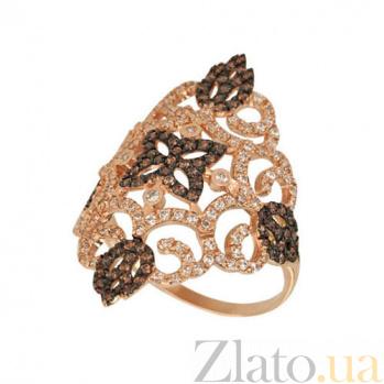 Кольцо из красного золота Кружево с фианитами VLT--ТТТ1181