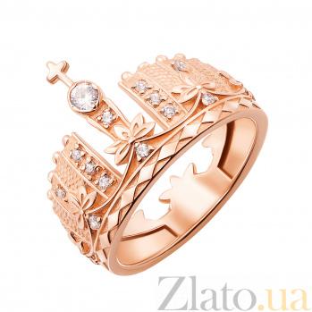 Кольцо в красном золоте Императрица с фианитами 000126619