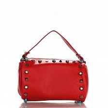 Кожаный клатч Genuine Leather 1519 красного цвета с короткой ручкой и декоративными элементами