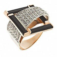 Золотое кольцо с агатами и фианитами Водопад чувств