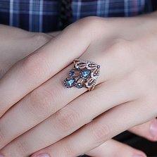 Золотое кольцо с топазом London Павлин