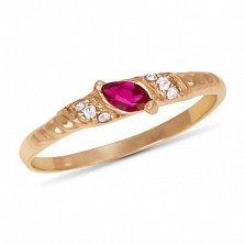 Золотое кольцо Бавария с синтезированным рубином и фианитами