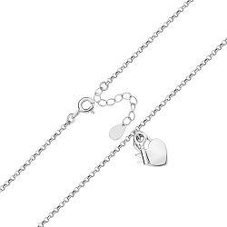 Серебряный браслет с подвеской-сердечком в плетении ролло 000122374