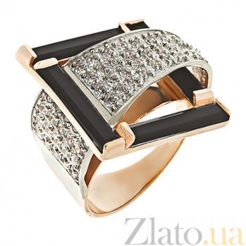 Золотое кольцо с агатами и фианитами Водопад чувств 000024522