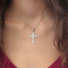 Серебряный родированный крест Защитник души с узорной шинкой и надписью Спаси и Сохрани