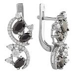 Серебряные серьги с черным цирконием Богемия