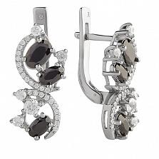 Серебряные серьги Богемия с черными и белыми фианитами